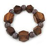 Brown Wood, Grey Ceramic Beads Flex Bracelet - 18cm L