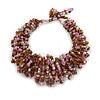 Pink/ Plum/ Transparent Glass Bead Chunky Weaved Bracelet - 17cm L/ 2cm Ext/ Medium