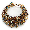 Gold/ White/ Peacock Glass Bead Chunky Weaved Bracelet - 17cm L/ 2cm Ext/ Medium