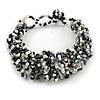 Black/ White/ Transparent Glass Bead Chunky Weaved Bracelet - 17cm L/ 2cm Ext