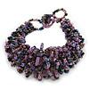 Black/ Lavender/ Peacock Glass Bead Chunky Weaved Bracelet - 16cm L/ 2cm Ext/ Small