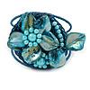 Light Blue Shell Bead Flower Wired Flex Bracelet - Adjustable