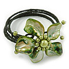 Green Shell Bead Flower Wired Flex Bracelet - Adjustable