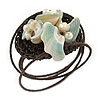Sea Shell Bead Wired with Brown Cotton Cord Flex Bracelet - Adjustable