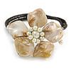 Off White Shell Bead Flower Wired Flex Bracelet - Adjustable