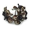 Black Shell Floral Flex Cuff Bracelet - Adjustable