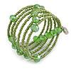 Multistrand Green Glass Bead Coiled Flex Bracelet