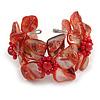 Red Shell Floral Flex Cuff Bracelet - Adjustable