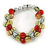Fancy Transparent/ Red/ Citrine Silver Acrylic Bead Flex Bracelet - 18cm L