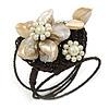 Antique White Shell Bead Flower Wired Flex Bracelet - Adjustable