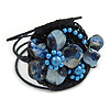 Cobalt Blue Shell Bead Flower Wired Flex Bracelet - Adjustable