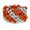 Orange Wood, Silver Acrylic Bead Flex Bracelet - 17cm L