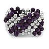 Purple Wood, Silver Acrylic Bead Flex Bracelet - 17cm L