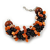 Teen/ Children/ Kids Solid Chunky Ceramic, Wood Bead, Sea Shell Cluster Bracelet - 16cm/ 5cm Ext - For Small Wrists Only