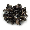 125g Chunky Black Ceramic Beads and Shell Nuggets Flex Bracelet - 18cm L