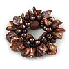 125g Chunky Brown Glass Beads and Shell Nuggets Flex Bracelet - 18cm L