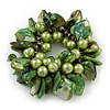 Chunky Green Shell, Glass Bead Flex Bracelet - 20cm L/ Large