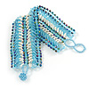 Wide Handmade Light Blue/ White Glass Bead Bracelet - 16cm L/ 2cm Ext