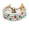 Stylish Glass Beaded Handmade Bracelet In Gold Tone Metal - 14cm L/ 5cm Ext (For Small Wrist)