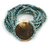 Multistrand Dusty Blue Glass Bead with Shell Motif Flex Bracelet - 19cm L