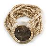 Multistrand Antique White Glass Bead with Shell Motif Flex Bracelet - 18cm L