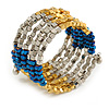 Multistrand Acrylic Bead Coiled Flex Bracelet In Silver, Gold, Blue - Adjustable