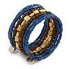 Multistrand Beaded Coiled Flex Bracelet in Blue, Brown, Gold - Adjustable