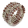 Stylish Beaded Coiled Flex Bracelet In Hues Of Plum, Lavender and Silver