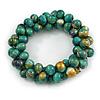 Teal Green/ Gold Wood Bead Cluster Flex Bracelet - 17cm L