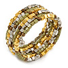 Multistrand Acrylic Bead Coiled Flex Bracelet In Silver, Gold, Olive, Brown - Adjustable