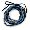 Stylish Multistrand Wood and Glass Bead Flex Bracelet (Black, Blue, Hematite) - 18cm L
