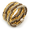 Multistrand Glass, Acrylic Bead Coiled Flex Bracelet (Off White, Gold, Bronze) - Adjustable