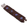 Handmade Boho Style Plum/ Purple Glass Bead Wristband Bracelet - 16cm L/ 2cm Ext