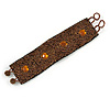 Handmade Boho Style Bronze/ Amber Glass Bead Wristband Bracelet - 16cm L/ 2cm Ext