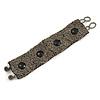 Handmade Boho Style Grey/ Black Glass Bead Wristband Bracelet - 17cm L/ 2cm Ext