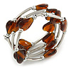 Multistrand Brown/ Amber Glass Heart Bead Coiled Flex Bracelet In Silver Tone - Adjustable