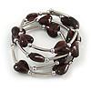 Multistrand Plum Glass Heart Bead Coiled Flex Bracelet In Silver Tone - Adjustable