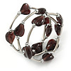 Multistrand Plum Glass Heart Bead Coiled Flex Bracelet In Silver Tone - Adjustable