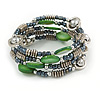 Multstrand Glass, Shell, Acrylic Bead Coiled Flex Bracelet (Green, Hematite, Silver) - Adjustable