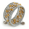 Multistrand Glass, Acrylic Bead Coiled Flex Bracelet (Silver, Gold) - Adjustable