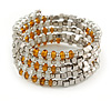 Multistrand Glass, Acrylic Bead Coiled Flex Bracelet (Silver, Transparent, Orange) - Adjustable