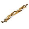 White/ Bronze/ Gold Glass Bead Plaited Bracelet - 19cm L - Large
