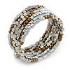 Silver/ Brown Acrylic Bead Multistrand Coiled Flex Bracelet - Adjustable