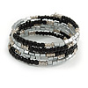 Black Glass Silver Acrylic Bead Multistrand Coiled Flex Bracelet Bangle - Adjustable