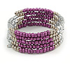 Multistrand Glass, Acrylic Bead Coiled Flex Bracelet (Silver, Purple) - Adjustable