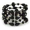 Statement Wide Black Glass Bead Multistrand Flex Bracelet - 20cm (Adjustable) Large