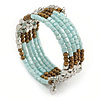 Multistrand Glass, Acrylic Bead Coiled Flex Bracelet (Silver, Light Blue, Bronze) - Adjustable