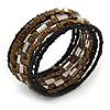 Dark Brown/ Black/ Silver Glass/ Acrylic Bead Multistrand Coiled Flex Bracelet - Adjustable