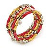 Multistrand Glass, Acrylic Bead Coiled Flex Bracelet (Silver, Pink, Gold, Bronze) - Adjustable