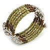 Olive/ Brown/ Silver Acrylic Bead Multistrand Coiled Flex Bracelet - Adjustable